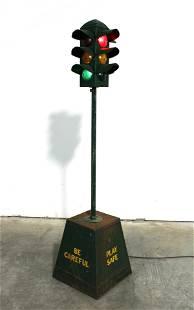 """4 FT Metal Miniature Stop Light """"Be Careful, Play Safe"""""""