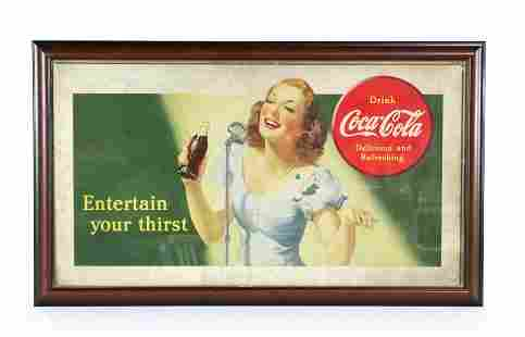 """Coca Cola """"Entertain Your Thirst"""" Framed Poster, 1941"""