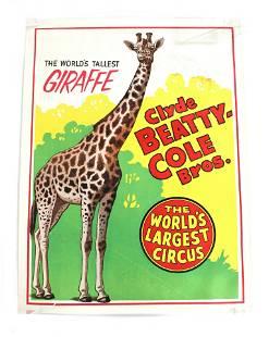 Clyde Beatty - Cole Bros Giraffe Circus Poster