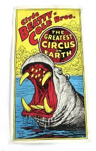 Clyde Beatty - Cole Bros Hippo Circus Poster