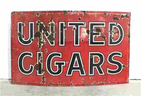 5FT United Cigars Porcelain Sign