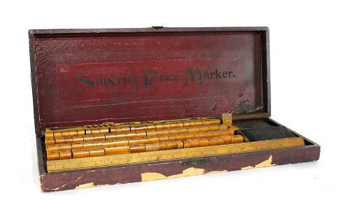 Superior Price Marker Wood Printers Block Set, 1930s