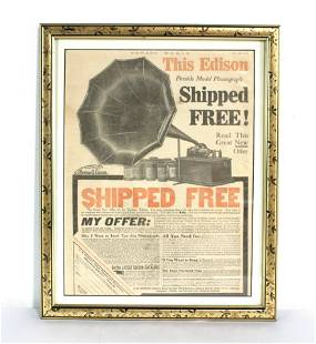 Edison Phonograph Framed Advertisement