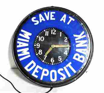 Miami Deposit Bank Glass Face Neon Clock