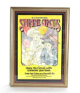 Shrine Circus Poster, Signed and Framed