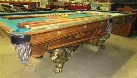 19TH C BRUNSWICK-BALKE-COLLENDER CO.MONARCH POOL TABLE