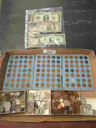 BOX OF AMERICAN COINS AND PAPER MONEY
