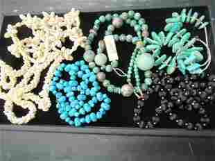 TRAY WITH TURQUOISE NECKLACES ETC