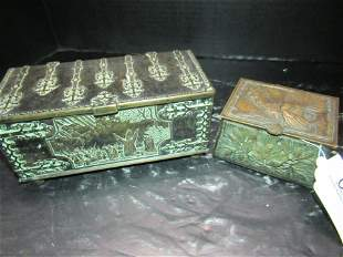 BRONZE AUSTRIAN DECORATED BOX AND SM CHEST