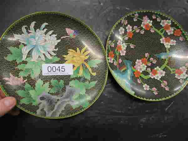 2 CLOISONEE PLATES WITH FLOWERS AND BIRDS,