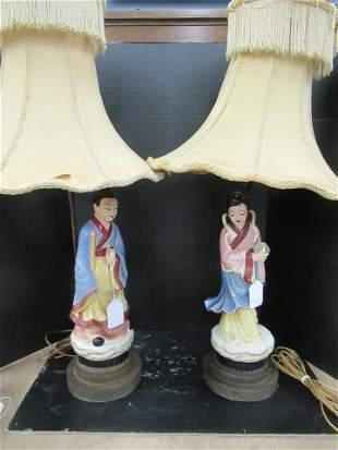 PAIR OF ASIAN FIGURAL LAMPS