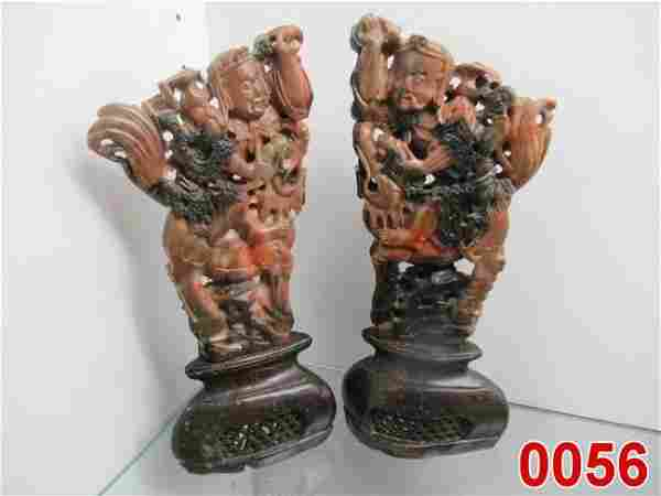Pr. of Figural Soapstone Carvings