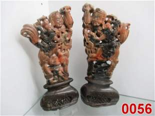 Pr of Figural Soapstone Carvings