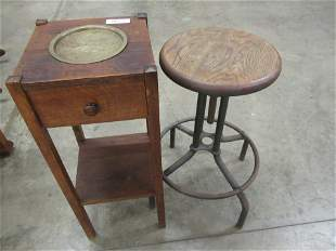OAK ARTS AND CRAFTS SMOKING STAND AND STOOL
