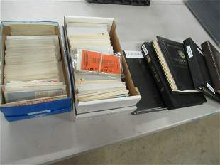 5 ALBUMS AND 2 BOXES OF LETTERHEADS, STAMPS, MISC