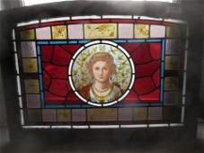 Victorian Stained Glass Window with Woman