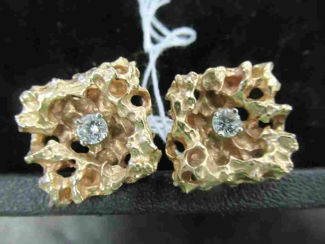 Pair of 14k Gold Nugget Cuff Links w/ Diamonds