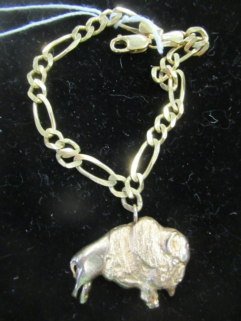 14k Gold Bracelet with 14k Gold Buffalo Charm