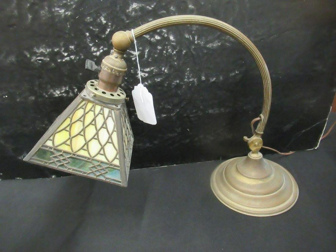 Brass Desk Lamp with Slag Glass Shade