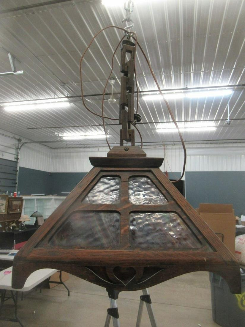 Arts and Crafts Hanging Lamp with Slag Glass
