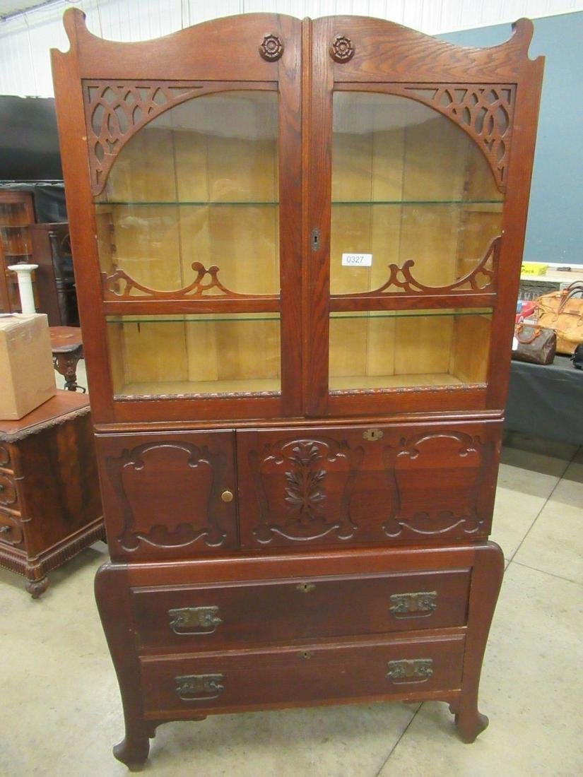 Tall Oak Cabinet w/ Glass Front Top