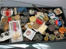 Mixed Tray of Military Medals, Badges, Buttons
