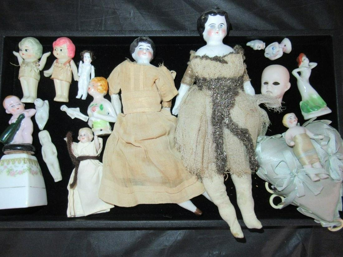 Mixed Group of China and Bisque Dolls