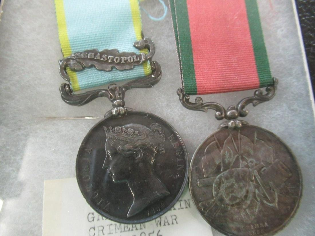 2 British Military Medals 1855-1856 Named
