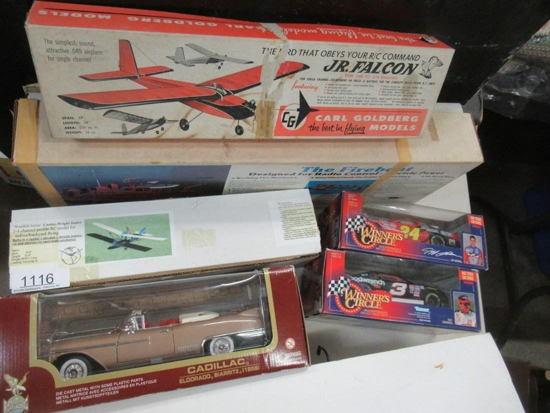 2 Model Airplanes, 1 Boat, 3 Diecast Cars