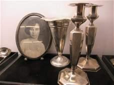 Pr. Sterling Silver Candlesticks, Vase, Etc