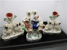 4 pcs Staffordshire w/ Dogs and Child