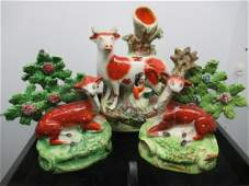 3 pcs Staffordshire w/ Cows and Deer
