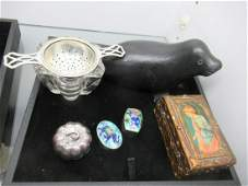Tray of Misc Items incl Stone Carved Walrus Etc