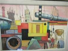 Signed Sisti Acrylic OilBoard Industrial Scene