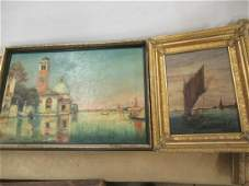 O/B Painting Chinese Junk and O/C Ptg. Venetian