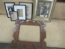 Tramp Art Frame  Group of Framed Prints