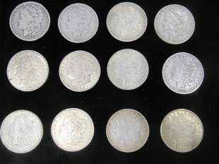 12 Morgan Silver Dollars