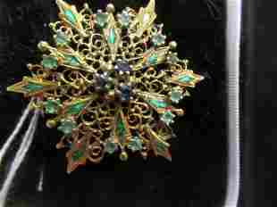 14k Gold Pin with Emeralds and Sapphires