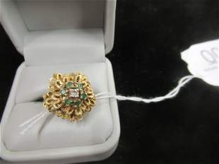 14k Gold Ring with Diamond and Sapphires