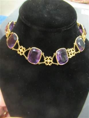 Antique Gold Necklace w/ Amethyst Stones