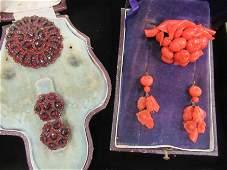 Box of Victorian Coral Pin  Earrings Garnet Pin