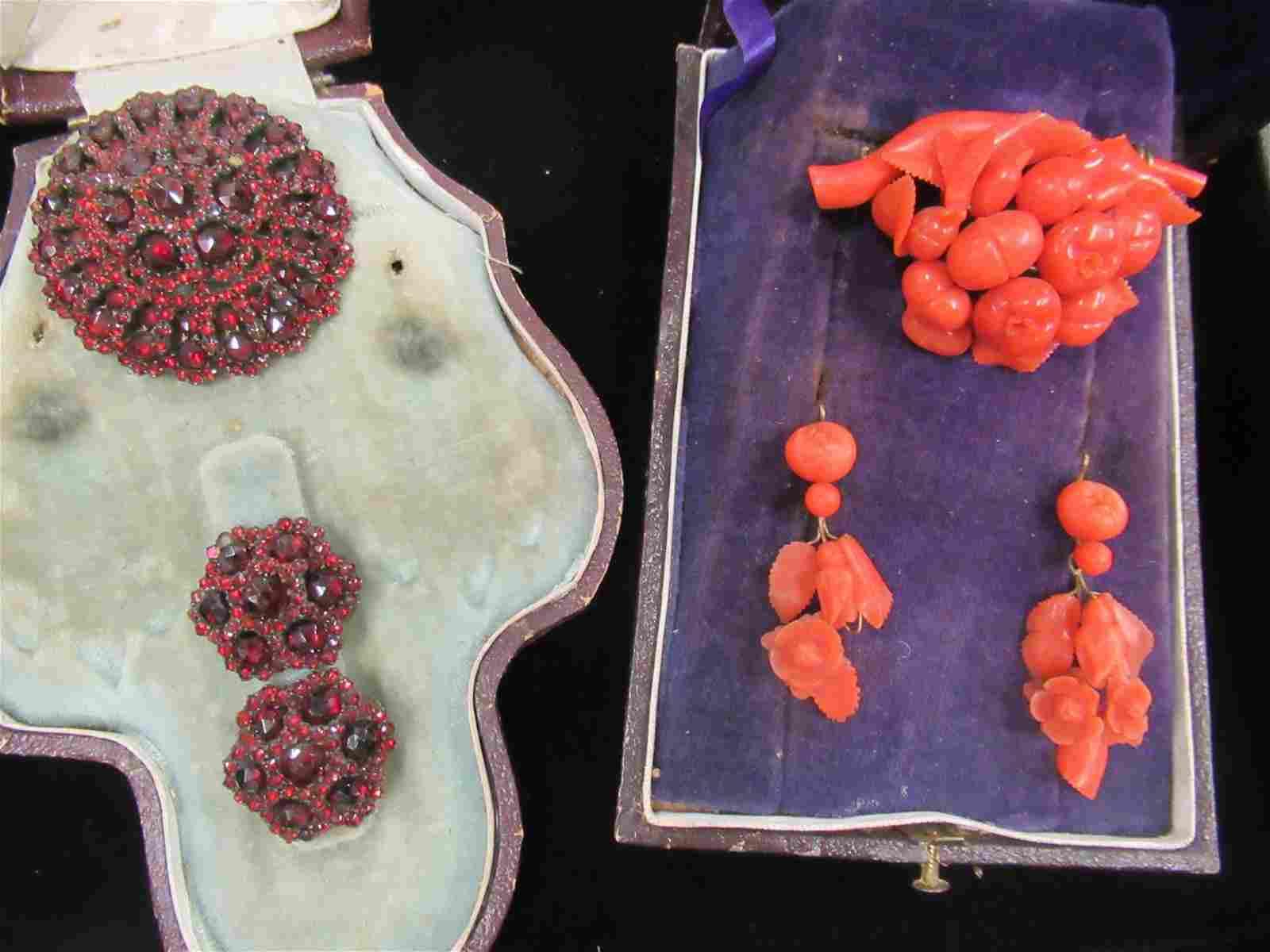 Box of Victorian Coral Pin & Earrings, Garnet Pin