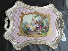 Sevres Porcelain Decorated Tray, Artist Signed
