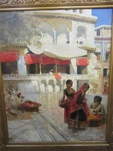 Painting of Flower Sellers by Edwin Lord Weeks