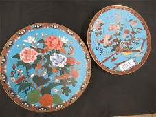 2 Cloisonne Plates with Flowers and Birds