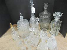 Large Group Assorted Pressed and Etched Glass
