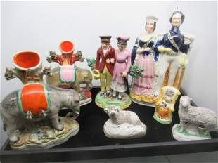 Tray of Early Staffordshire Figures