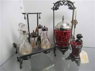 Cranberry Pickle Jar, Condiment Set, etc