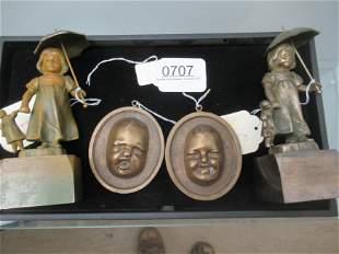 2 Metal Figures of Girls & 2 Small Bronze Plaques