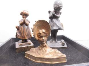 3 Metal Figures - 2 Young Girls and Woman